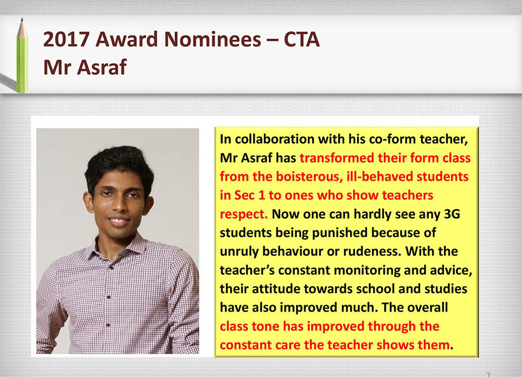 2017 Recognition Mr Asraf