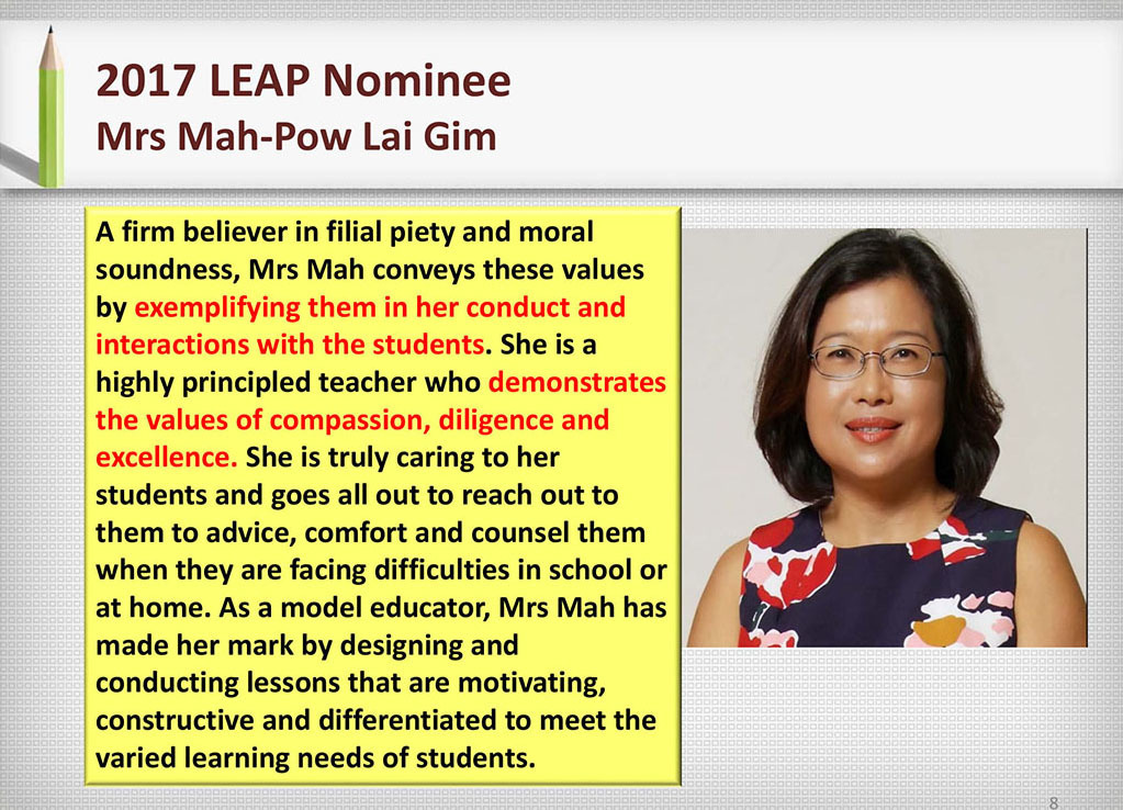 2017 Recognition Mrs Mah-Pow Lai Gim