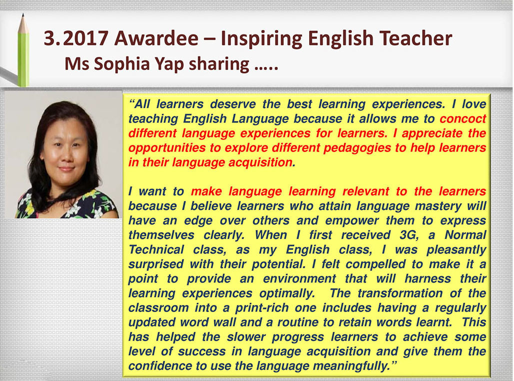 2017 Recognition Ms Sophia Yap Sharing...